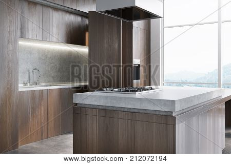 Wooden And Marble Kitchen Counter Close Up