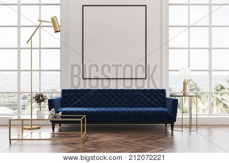 White Living Room, Blue Sofa, Poster
