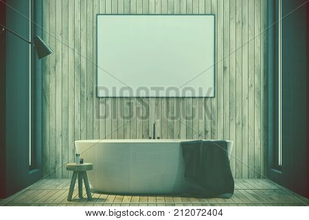 Wooden Bathroom, Tub And Poster Toned