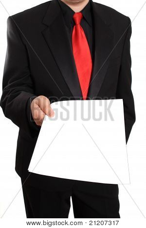 Businessman Offering Blank Document