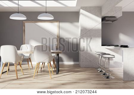 Gray, Wooden Kitchen, Dining Room, Poster