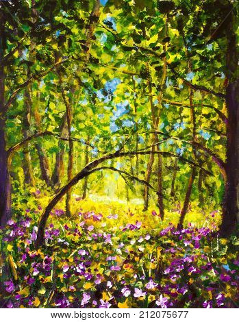 Original oil painting Flowers in forest. Illustranion Green trees Purple white blue flowers in forest. Beautiful magic landscape. Modern palette knife nanure impressionism painting art.