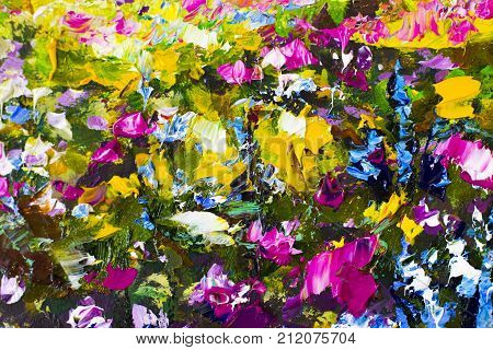 Original handmade abstract oil painting bright flowers made palette knife. Red yellow blue purple abstract flowers. Macro impasto painting.