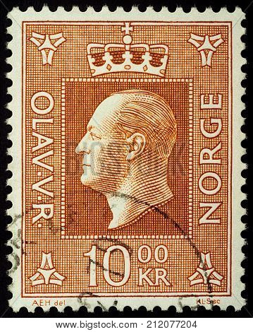 Moscow Russia - November 03 2017: A stamp printed in Norway shows Norwegian King Olav V (1903-1991) series circa 1969