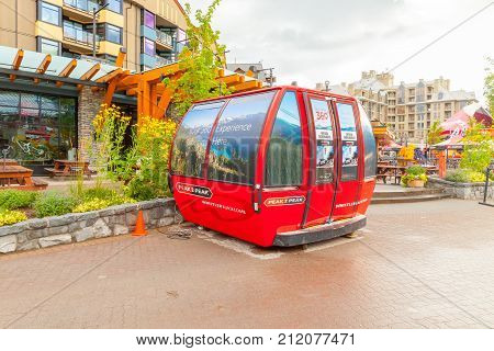 Whistler August 2015 This is a cabin of the Whistler gondola that connect the Whistler Peak to the Blackcomb Peak. It's located in town as the tourist can see it and reserve the amazing gondola ride.