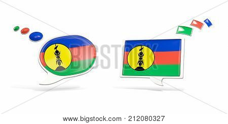 Two Chat Icons With Flag Of New Caledonia