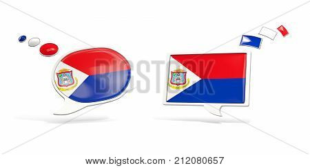 Two Chat Icons With Flag Of Sint Maarten