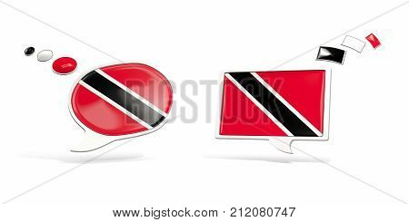 Two Chat Icons With Flag Of Trinidad And Tobago