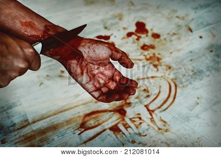 Man Suicide By Knife Cutting A Wrist