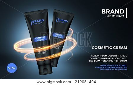 Cosmetic package advertising vector template for skin care face cream or men after shave moisturizer. Lotion tube and gold luxury circle for product design template on premium background