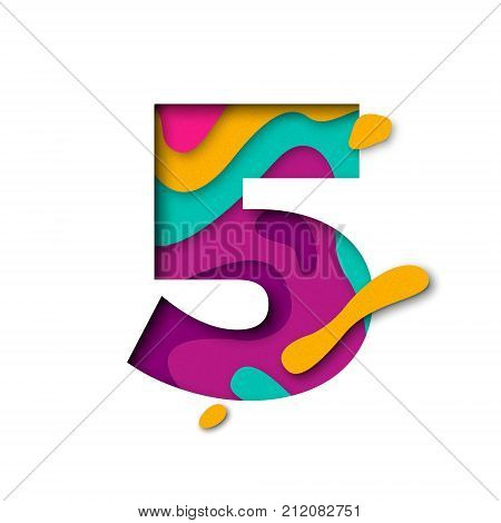 Paper Cut Number Five 5 Letter. Realistic 3D Multi Layers Papercut Effect
