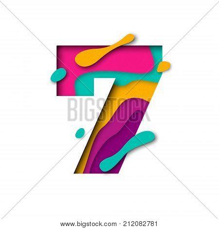 Paper Cut Number Seven 7 Letter. Realistic 3D Multi Layers Papercut Effect