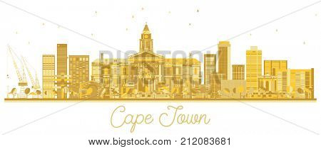 Cape Town South Africa City skyline golden silhouette. Business travel concept. Cape Town Cityscape with landmarks.