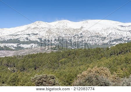 Views of La Pedriza from Canto Cochino in Guadarrama Mountains National Park Madrid Spain. In the background can be seen Cabezas de Hierro peaks (Heads of Iron)