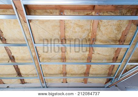 Part of Construction of ceiling insulation- wool wood and aluminum
