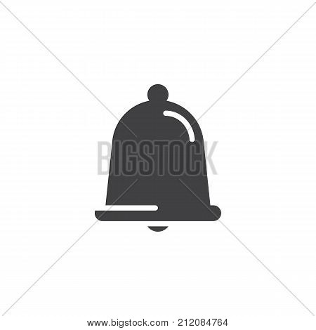 Alarm, service bell, handbell icon vector, filled flat sign, solid pictogram isolated on white. Notification jingle bell symbol, logo illustration.