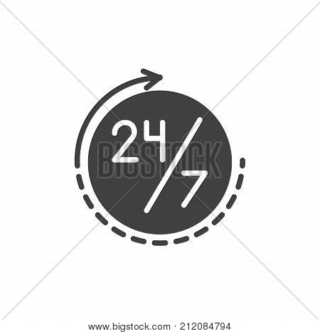 Twenty four seven, 24 hours a day and 7 days a week icon vector, filled flat sign, solid pictogram isolated on white. Time management symbol, logo illustration.