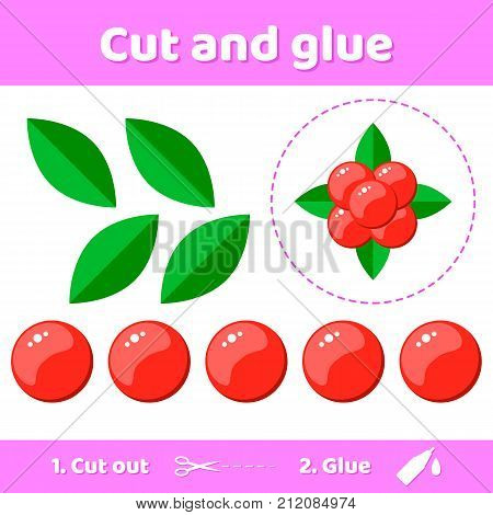 Vector Illustration. Education Paper Game For Preschool Kids. Use Scissors And Glue To Create The Im