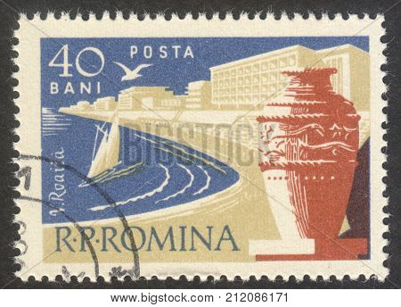 MOSCOW RUSSIA - CIRCA OCTOBER 2017: a post stamp printed in ROMANIA shows Vasile Roaita town the series