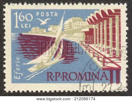 MOSCOW RUSSIA - CIRCA OCTOBER 2017: a post stamp printed in ROMANIA shows Eforie town the series