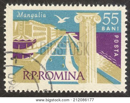 MOSCOW RUSSIA - CIRCA OCTOBER 2017: a post stamp printed in ROMANIA shows Mangalia town the series