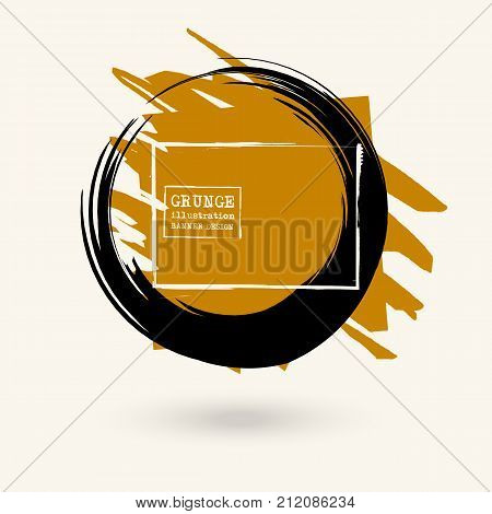Black round and color ink stroke on white background. Japanese style. Vector illustration of grunge circle stains