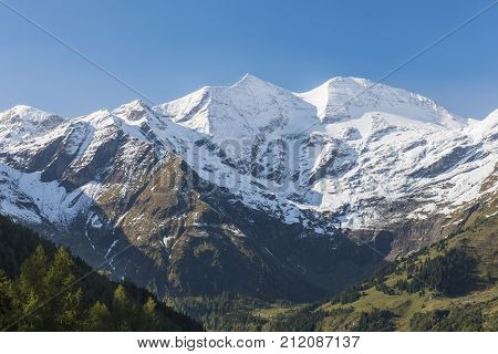 View on the Grosses Wiesbachhorn with snow from Ferleiten Austria.