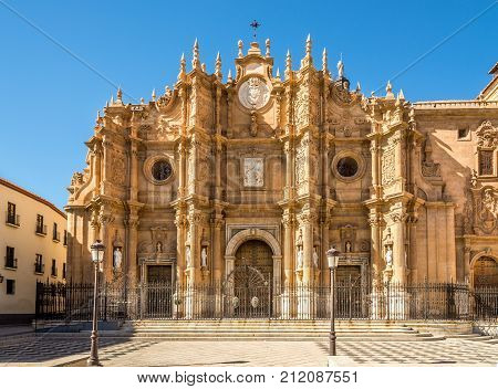 View at the facade of Cathedral in Guadix - Spain