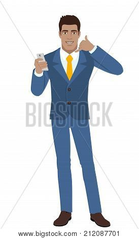Call me! Businessman with mobile phone showing a call me sign. Full length portrait of Black Business Man in a flat style. Vector illustration.