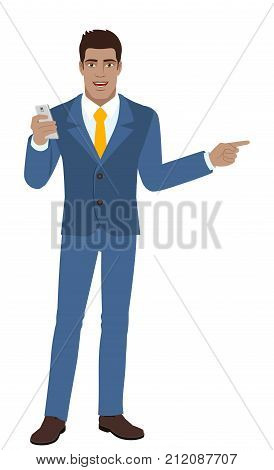 Businessman with mobile phone showing something beside of him. Full length portrait of Black Business Man in a flat style. Vector illustration.