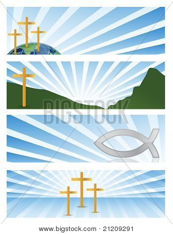 four illustration Religious banners isolated over a white background poster