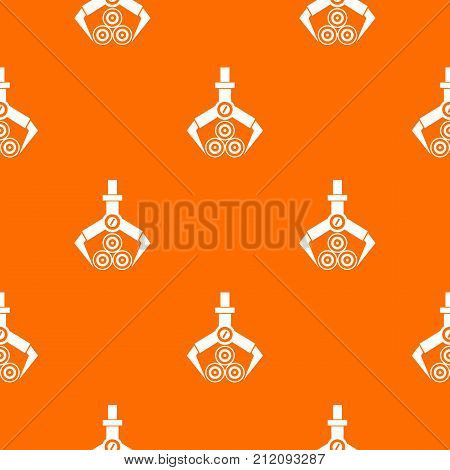 Log loader pattern repeat seamless in orange color for any design. Vector geometric illustration