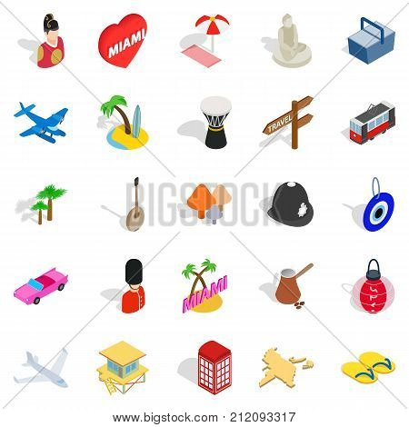 Discover icons set. Isometric set of 25 discover vector icons for web isolated on white background