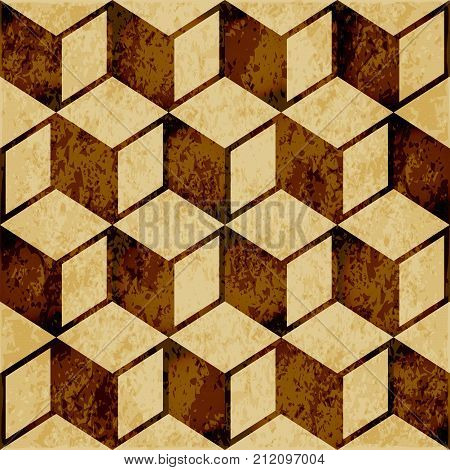 Retro Brown Watercolor Texture Grunge Seamless Background Cubic Square Geometry