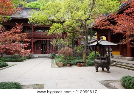 Traditional architecture of ancient chinese Lingyin temple, closeup.
