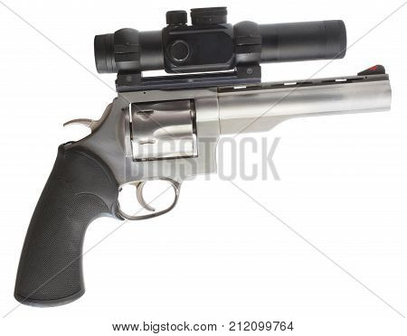 Large handgun with a scope isolated on white