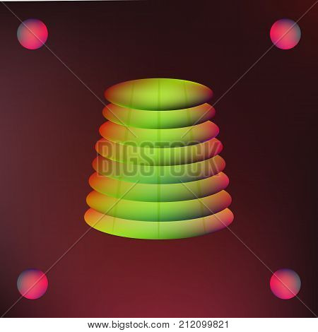 Abstract mesh background. Vector illustration of pyramids from ellipses on dark.