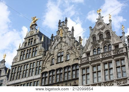 Gables in the Grote Markt of Antwerp, Belgium