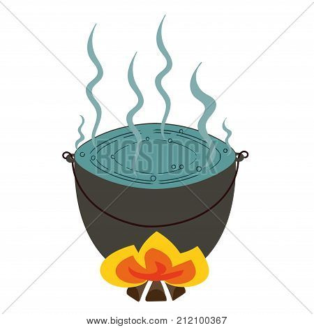 pot of boiling water on the fire. vector representing a tourist pot of boiling water on the fire