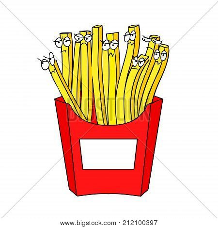 French fries with eyes Funny vector illustration. Vector illustration depicting a live potatoes. French fries isolated at the white background