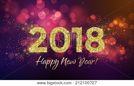 2018 Happy New Year Background Texture With Glitter Fireworks. Vector Gold Glittering Text And Numbe