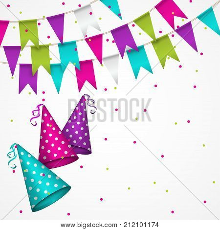 Colorful garlands on white background. Party colorful bunting flags. Vector illustration party pennants with different forms. Birthday decoration. Hanging colored flags and soaring confetti and dotted party hat