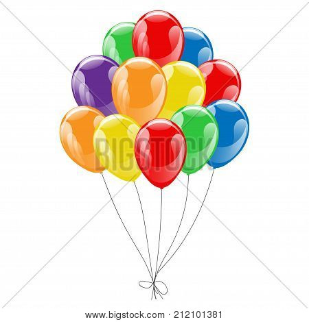 Bunche of colorful helium balloons isolated on white background. Concept of birthday party anniversary and wedding invitations