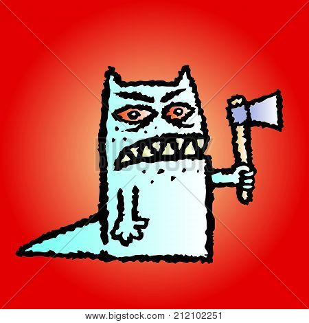 Funny toothed red monster with an axe in his hand. Vector illustration. Genre of horror. Scary character on red background