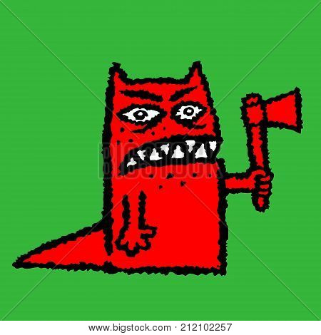 Red hangman with ax. Vector illustration. Genre of horror. Scary character for halloween on green background
