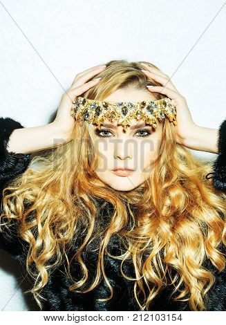 Girl With Tiara On Long Blond Hair