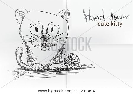 Cute cartoon kitty on white background poster