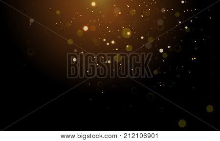 Gold Light Glitter Sparkling Effect On Vector Shining Background