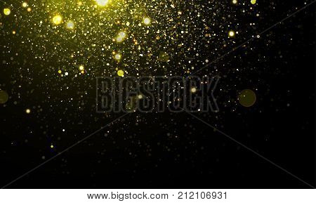 Gold Light Glitter Sparkles Effect On Vector Shining Background