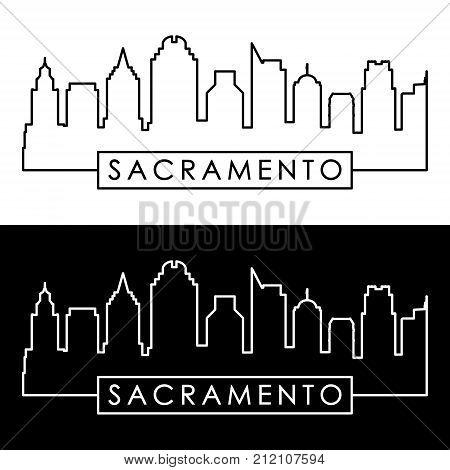 Sacramento skyline. Colorful linear style. Editable vector file.